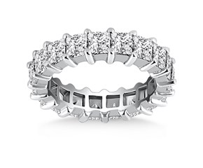 Classic Common Prong Princess Cut Diamond Eternity Ring in 14k White Gold
