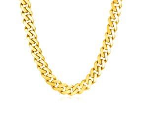 14k Yellow Gold Polished Miami Cuban Chain Necklace