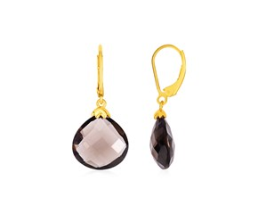 Earrings with Smokey Quartz Teardrops with Yellow Finish in Sterling Silver