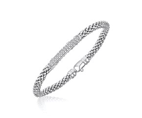 Diamond Section Popcorn Bangle in Rhodium Finished Sterling Silver (.14cttw)