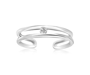 White Cubic Zirconia Accented Dual Style Open Toe Ring in Rhodium Finished Sterling Silver