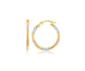 Tri-Color Hoop Earrings with Diamond Cut Accents in 14k Gold
