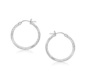 Diamond Cut Hoop Earrings in 14k White Gold (25mm Diameter)