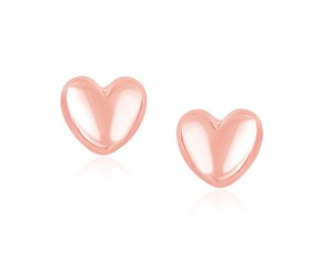 Polished Puffed Heart Earrings in 14k Rose Gold