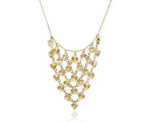 Diamond Cut Heart Bib Style Necklace in 14k Yellow Gold