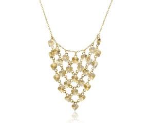 Diamond Cut Heart Bib Style Necklace in 14K Yellow Gold