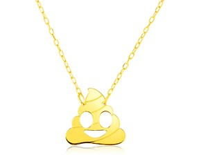 14k Yellow Gold Necklace with Poop Emoji Symbol