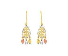 Textured Teardrop Chandelier Earrings in 14k Tri Color Gold