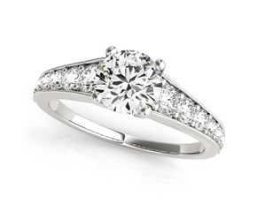 14k White Gold Antique Style Tapered Shank Round Diamond Engagement Ring (1 3/8 cttw)