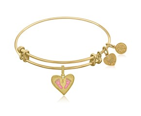 Expandable Yellow Tone Brass Bangle with Pink Enamel Baby Foot Print Symbol
