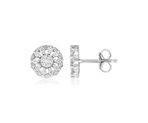 Sterling Silver Polished Halo Set Cubic Zirconia Earrings