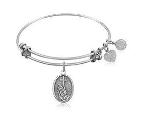Expandable White Tone Brass Bangle with The Faith Symbol