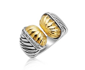 Diamond Embellished Open Style Cable Inspired Ring in 18k Yellow Gold and Sterling Silver (.11 cttw)