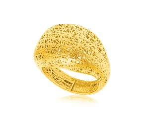 Mesh Motif Dome Style Ring in 14k Yellow Gold