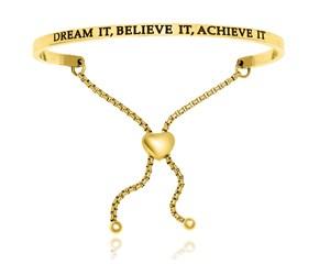 Yellow Stainless Steel Dream It,  Believe It,  Achieve It Adjustable Bracelet