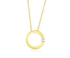 Diamond Accented Open Circle Style Pendant in 14k Yellow Gold (.02ct)
