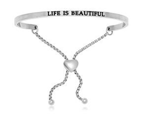 Stainless Steel Life Is Beautiful Adjustable Bracelet