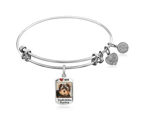 Expandable White Tone Brass Bangle with Yorkshire Terrier Dog Charm