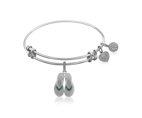 Expandable White Tone Brass Bangle with Enamel Flip Flop Charm Symbol
