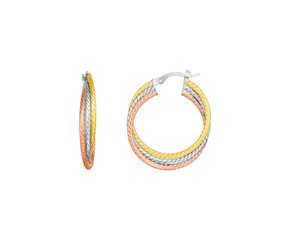 14k Tri Color Gold Three Part Round Hoop Earrings