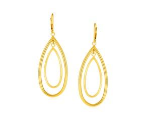 14k Yellow Gold Earrings with Teardrop Dangles