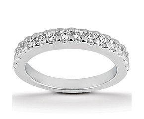 Shared Prong Diamond Wedding Ring Band in 14K White Gold
