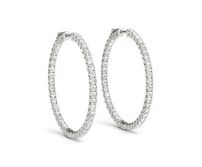 Prong Set Diamond Hoop Earrings in 14k White Gold (2 cttw)
