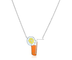 Sterling Silver 18 inch Necklace with Enameled Orange Tropical Drink
