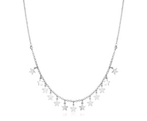Sterling Silver Necklace with Polished Stars