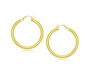 Classic Hoop Earrings in 14k Yellow Gold (40mm Diameter) (4.0mm)