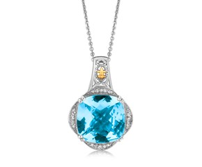 Blue Topaz and Diamond Embellished Fleur De Lis Motif Cushion Pendant in 18k Yellow Gold and Sterling Silver (.09 cttw)