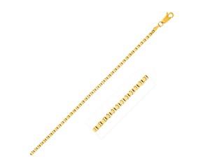 Semi Solid Box Chain in 14k Yellow Gold (2.5 mm)