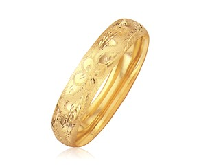 Classic Floral Cut Bangle in 14k Yellow Gold (13.5mm)