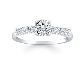 Shared Prong Accent Diamond Engagement Ring Mounting in 14K White Gold