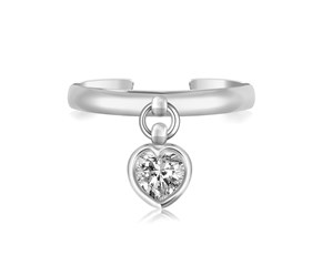 White Cubic Zirconia Accented Heart Charm Toe Ring in Rhodium Finished Sterling Silver