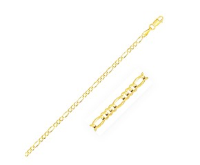 Solid Figaro Chain in 14k Yellow Gold (2.8mm)