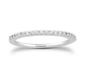 Slender Micro Prong Diamond Wedding Ring Band in 14K White Gold