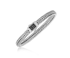 Braided Style Men's Bracelet with Black Sapphire Stones in Sterling Silver