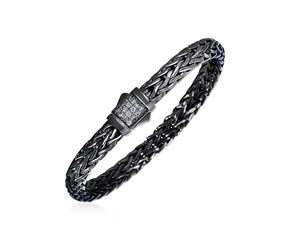 Woven Rope Bracelet with White Sapphire and Black Finish in Sterling Silver
