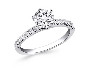 Engagement Ring Mounting with Fishtail Diamond Accents in 14k White Gold
