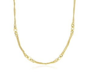Multi-Strand and Oval Link Necklace in 14k Yellow Gold
