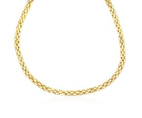 Polished Necklace with a Panther Chain Link in 14k Yellow Gold