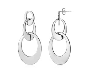 Drop Earrings with Three Open Ovals in Sterling Silver