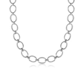 Diamond Embellished Rope Oval Chain Necklace in Rhodium Plated Sterling Silver (.26ct tw)