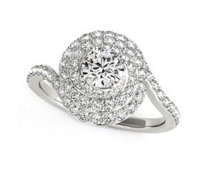 14K White Gold Round Diamond Spiral Design Engagement Ring (1 1/8 ct. tw.)