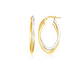 Interlaced Double Oval Hoop Earrings in 14k Two Tone Gold