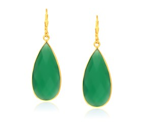 Long Teardrop Green Onyx Earrings in Yellow Gold Plated Sterling Silver
