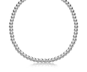 Polished Bead Chain Necklace in Rhodium Plated Sterling Silver (6mm)