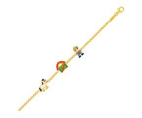 14k Yellow Gold Childrens Bracelet with Enameled Farm Figures