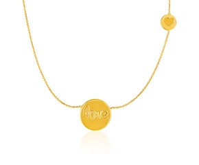 """14k Yellow Gold Necklace with Round""""Love"""" and Heart Elements"""